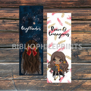 Gryffindor Girl Double Sided Bookmark - Brunette, Dark Skin