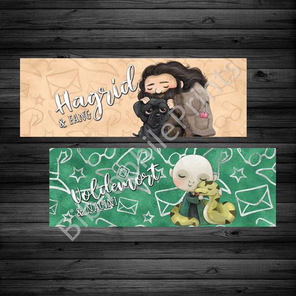 Hagrid and Voldemort Double Sided Bookmark