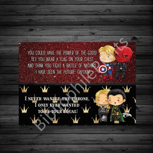 Villains and Heroes - Thor/ Captain America Double Sided Bookmark