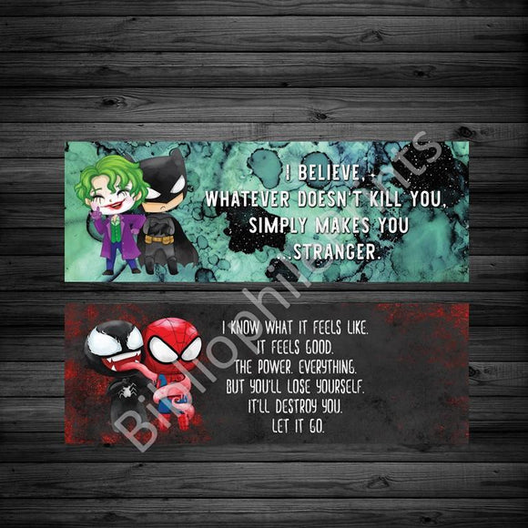 Villains and Heroes - Spiderman/Batman Double Sided Bookmark - bibliophileprints