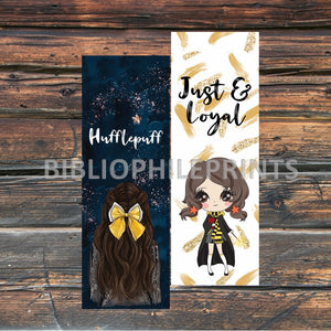 Hufflepuff Girl Double Sided Bookmark - Brunette, Light Skin