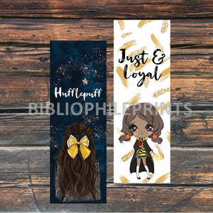 Hufflepuff Girl Double Sided Bookmark - Brunette, Dark Skin