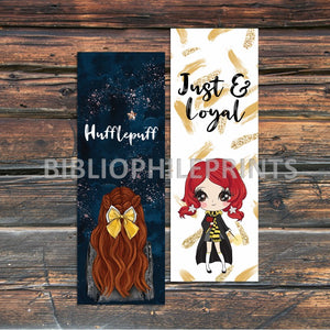 Hufflepuff Girl Double Sided Bookmark - Red Head