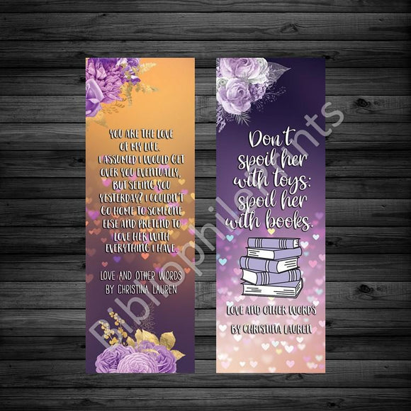 Love and Other Words Christina Lauren  Double Sided Bookmark - bibliophileprints