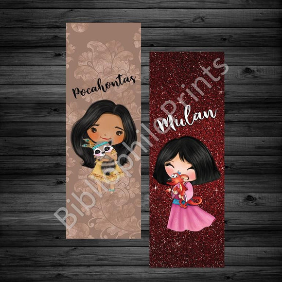 Pocahontas and Mulan Double Sided Bookmark