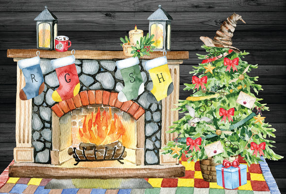 Harry Potter Christmas Fireplace 4x6 Print