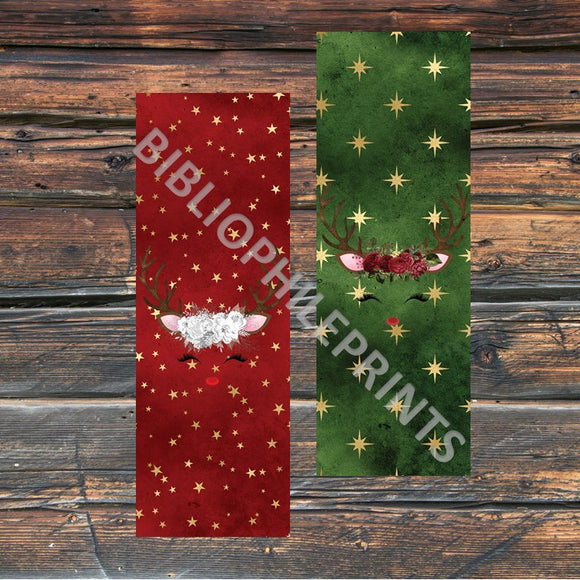 Christmas Reindeer Double Sided Bookmark