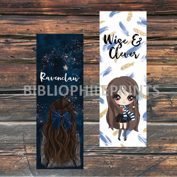 Ravenclaw Girl Double Sided Bookmark - Brunette, Light Skin