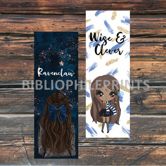 Ravenclaw Girl Double Sided Bookmark - Brunette, Dark Skin