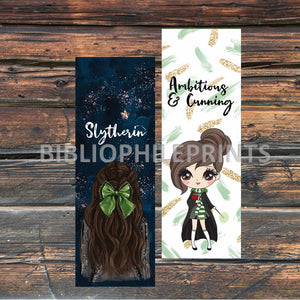 Slytherin Girl Double Sided Bookmark - Brunette, Light skin