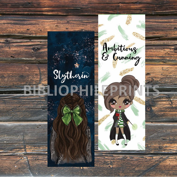 Slytherin Girl Double Sided Bookmark - Brunette, Dark Skin
