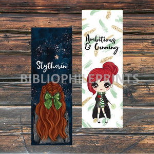 Slytherin Girl Double Sided Bookmark - Red Head