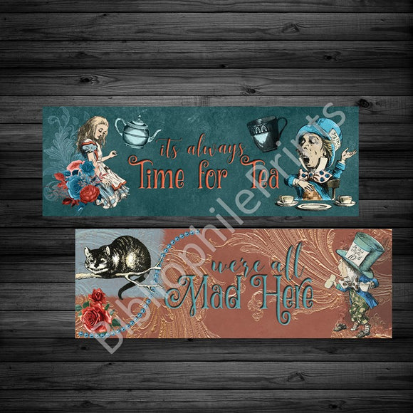 Teal and Crimson Vintage Alice Double Sided Bookmark