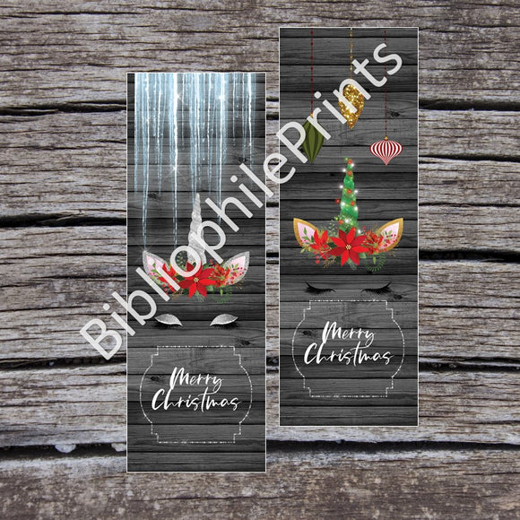 Christmas Unicorn Double Sided Bookmark