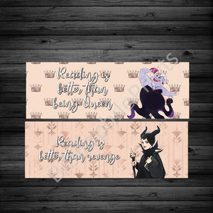 Reading Villains - Ursula and Maleficent Double Sided Bookmark
