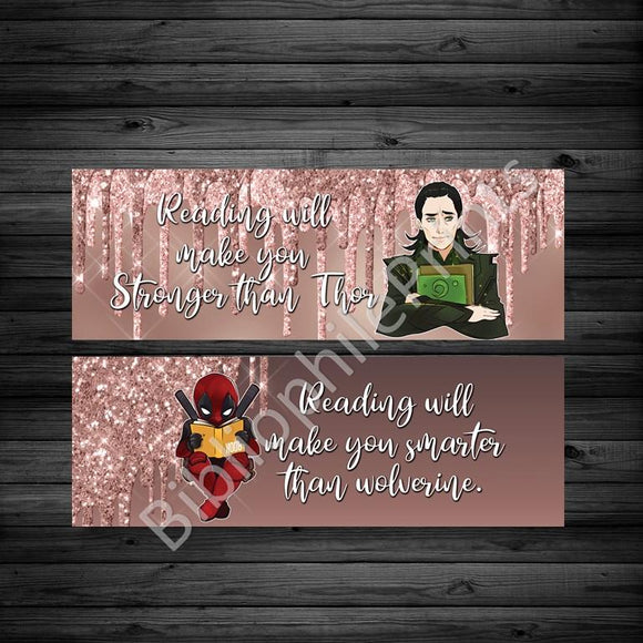 Loki/ Deadpool Villains Reading Double Sided Bookmark - bibliophileprints