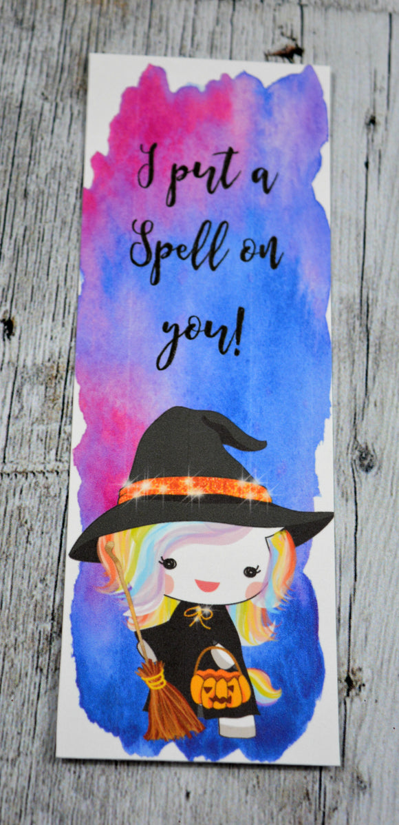 Witch Unicorn Halloween Bookmark
