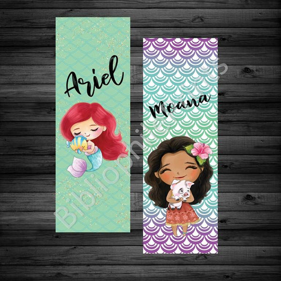 Ariel and Moana Double Sided Bookmark