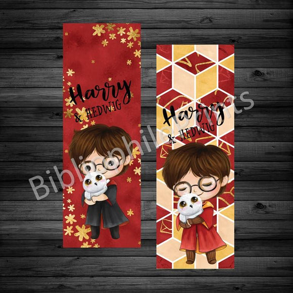 Harry Potter & Hedwig Double Sided Bookmark - bibliophileprints