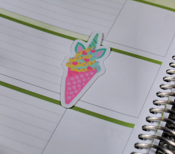 Unicorn Food Icecream Sticker - Vinyl Sticker - Planner Sticker - Computer Decal