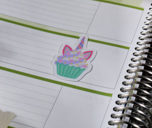 Unicorn Food Cupcake Sticker - Vinyl Sticker - Planner Sticker - Computer Decal