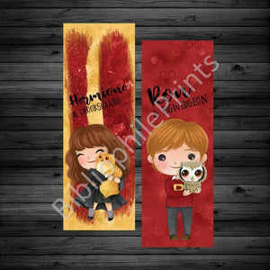 Ron and Hermionie Double Sided Bookmark - bibliophileprints