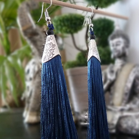 Blue long tassels earrings