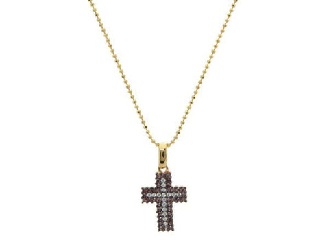 Champagne  & White Cz Cross Necklace