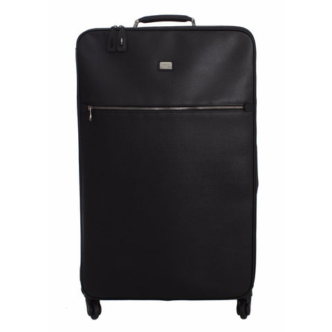 Dolce & Gabbana Luggage Bag Black Leather Travel Suitcase Trolley
