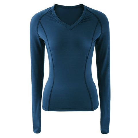 Women's Long Sleeve V-Neck Soft Sexy Sports Tops with High Elasticity