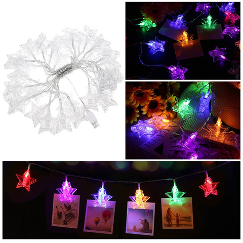 YUNLIGHTS 5.5M 30 LED Stars Photo Clips String Lights USB Fairy String Lights Perfect for Hanging Pictures Notes Artwork Room Decoration Christmas Party Gift