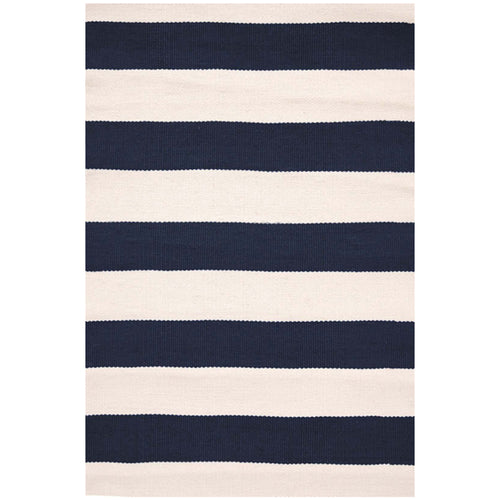 Catamaran Stripe Navy/Ivory 6X9 Area Rug Indoor/Outdoor