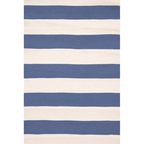 Catamaran Stripe Denim/Ivory 6X9 Area Rug Indoor/Outdoor