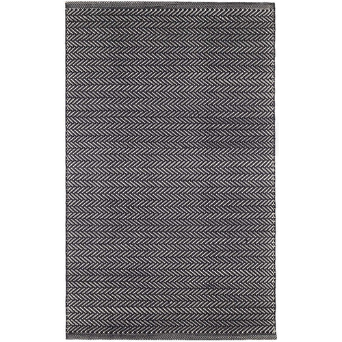 Herringbone Black/Ivory 6X9 Area Rug Indoor/Outdoor