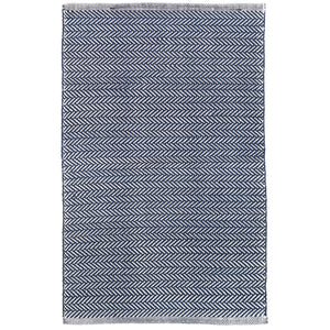 Herringbone Indigo/White 6X9 Area Rug Indoor/Outdoor