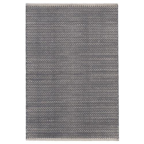 Herringbone Shale/White 6X9 Cotton Area Rug