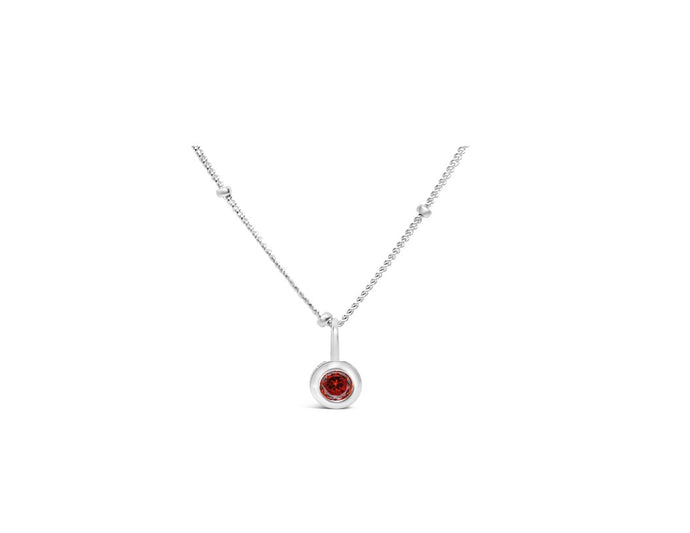 Garnet CZ Birthstone Necklace (January)