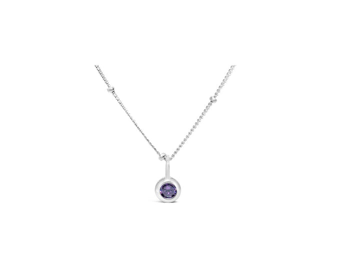 Amethyst CZ Birthstone Necklace (February)