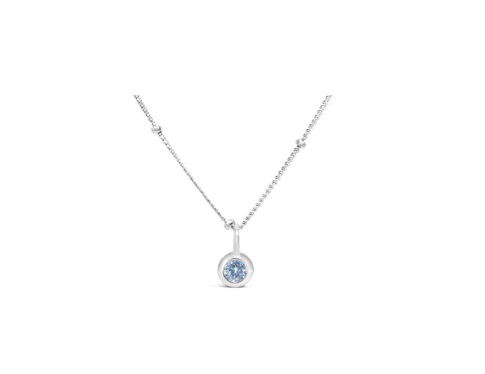 Clear Quartz CZ Birthstone Necklace (April)