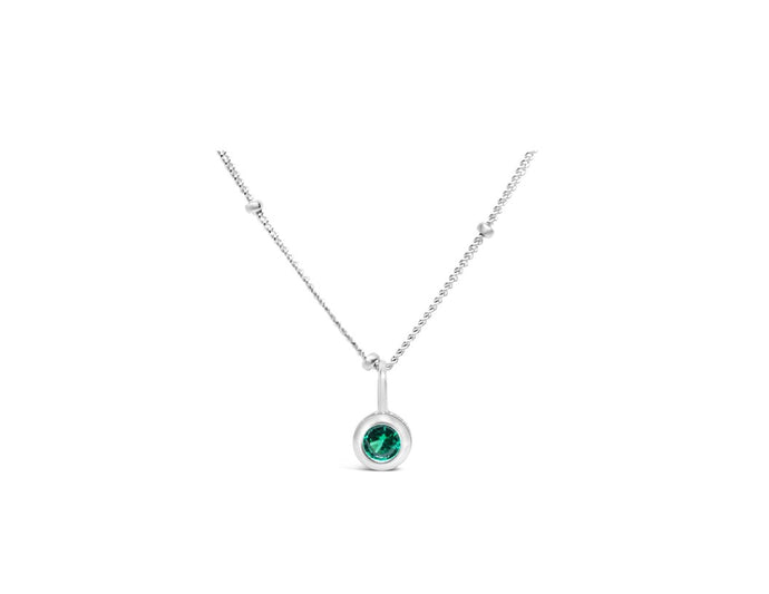 Emerald CZ Birthstone Necklace (May)