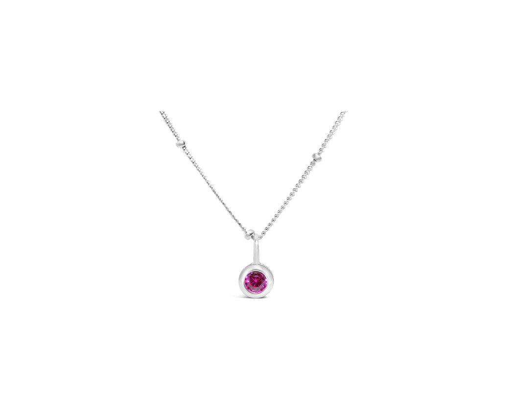 Ruby CZ Birthstone Necklace (July)