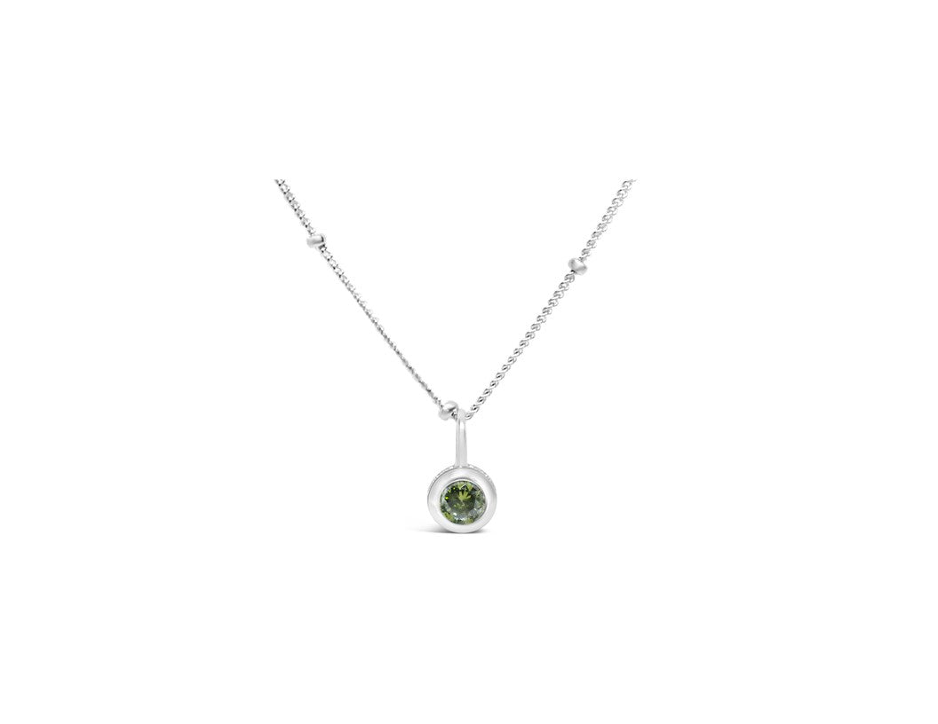 Peridot CZ Birthstone Necklace (August)