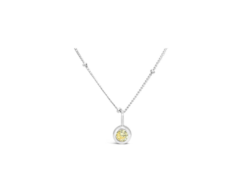 Citrine CZ Birthstone Necklace (November)