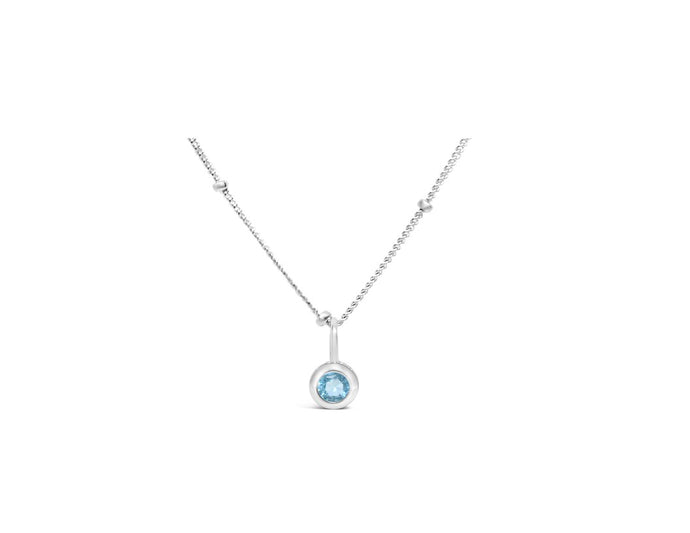 Aquamarine CZ Birthstone Necklace (March)