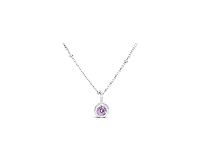 Pink Tourmaline CZ Birthstone Necklace (October)