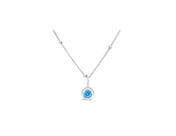 Zircon CZ Birthstone Necklace (December)
