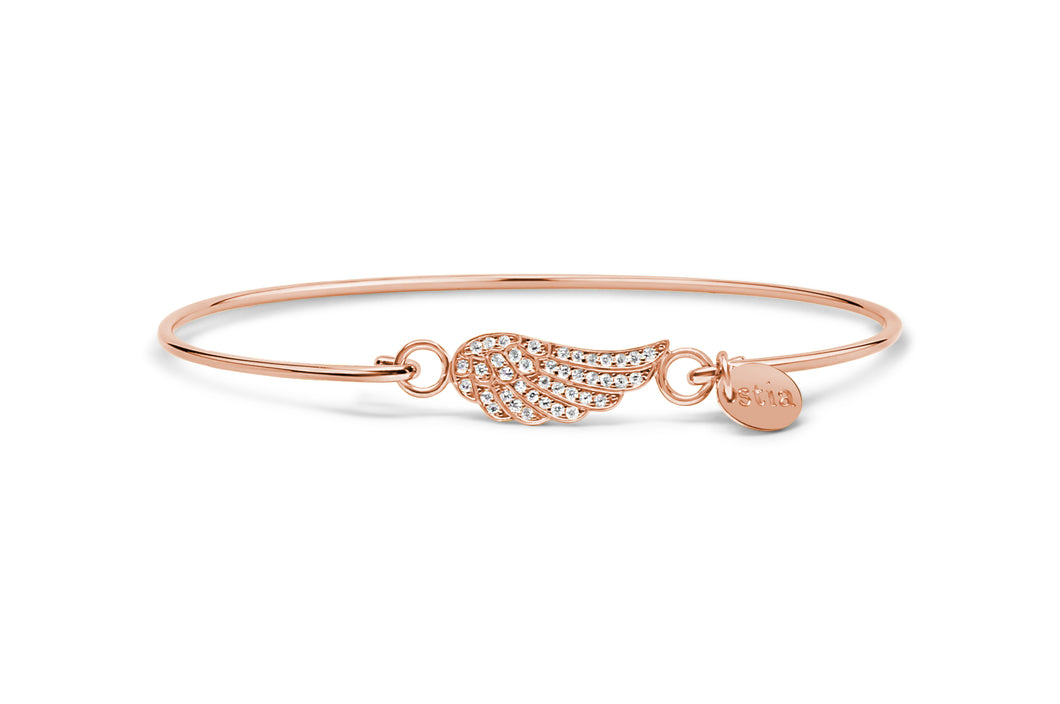 Rose Gold Bracelet Pavé Wing