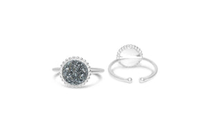 "Druzy Sparkle ""It Fits"" Ring Platinum Silver"