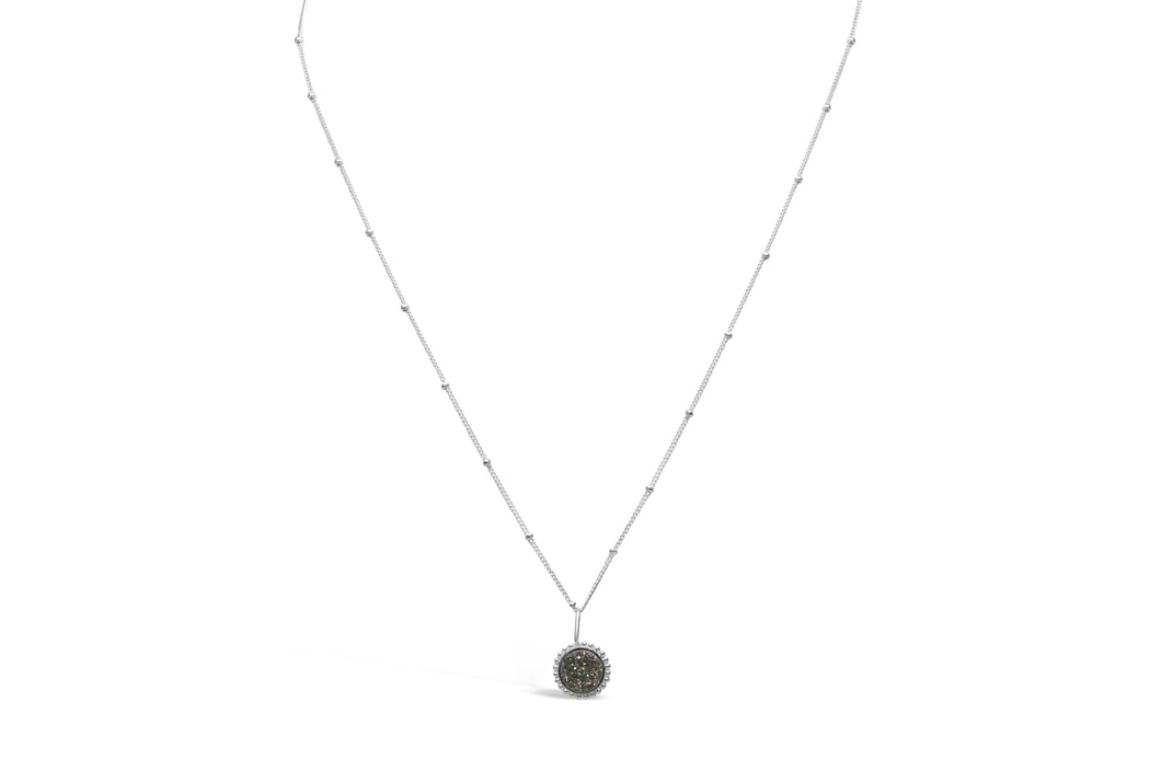 Druzy Sparkle Platinum Silver Mini Necklace