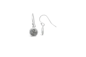 Druzy Sparkle Earring Platinum Silver French Hook